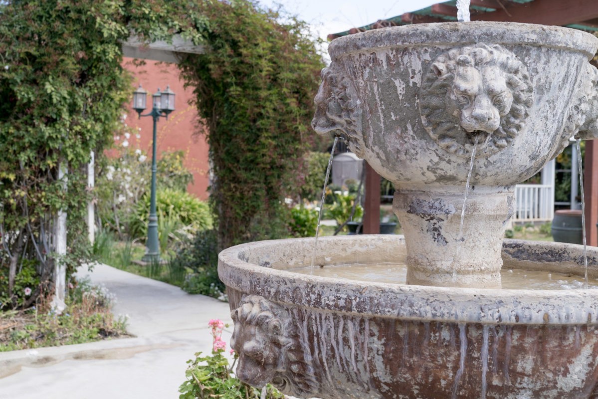 Courtyard and water fountain at Eden Valley Care Center